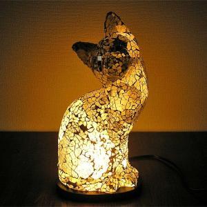 アジアン モザイクランプ バリネコ  [H.約30cm] 白・グレー アジアンインテリア アジアンランプ 照明 エスニック|angkasa