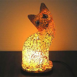アジアン モザイクランプ バリネコ  [H.約30cm] 黄・オレンジ アジアンインテリア アジアンランプ 照明 エスニック|angkasa