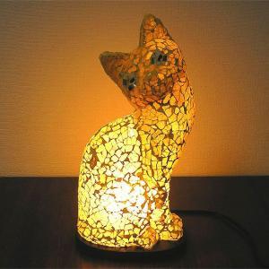 アジアン モザイクランプ バリネコ  [H.約30cm] イエロー アジアンインテリア アジアンランプ 照明 エスニック|angkasa