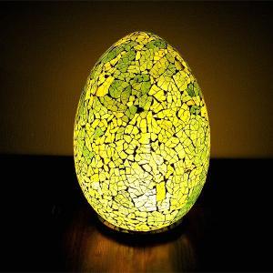アジアン モザイクのアートランプ 卵型 [H.約30cm] 黄・黄緑系 アジアンインテリア アジアンランプ 照明 エスニック|angkasa