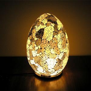アジアン モザイクのアートランプ 卵型 [H.約30cm] 白・グレー系 アジアンインテリア アジアンランプ 照明 エスニック|angkasa