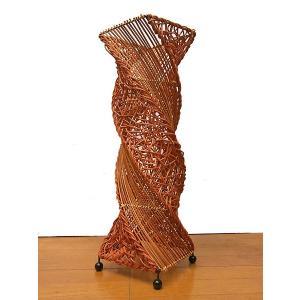 ラタンとアタのツイストランプ ブラウン H.60cm アジアン雑貨  アジアンインテリア アジアンランプ 照明 エスニック|angkasa