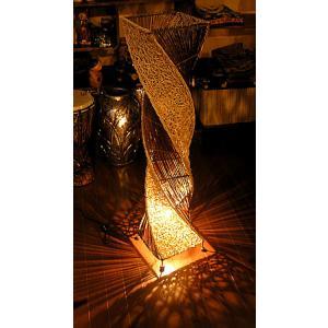 ラタンとアタのツイストランプ ナチュラル H.100cm アジアンインテリア アジアンランプ 照明 エスニック|angkasa