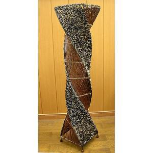 ラタンとアタのツイストランプ ブラウン H.100cm アジアン雑貨  アジアンインテリア アジアンランプ 照明 エスニック|angkasa