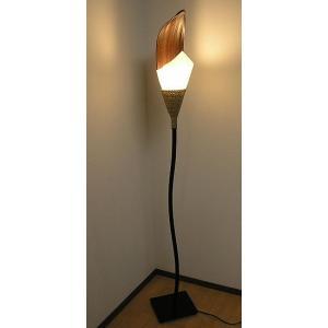 ココナッツリーフと 牛革シールドの スタンドランプ フラワー [H.約165cm] アジアンインテリア アジアンランプ 照明 エスニック|angkasa