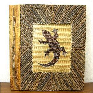 アジアン雑貨 バリ雑貨 天然リーフのフォトアルバム A Lサイズ ココナツの枝とトッケイ|angkasa