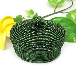 アジアン雑貨 バリ雑貨 20%OFF ビーズの小箱 楕円 大 緑|angkasa