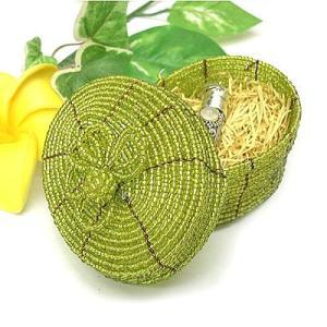 アジアン雑貨 バリ雑貨 20%OFF ビーズの小箱 楕円 大 黄緑 |angkasa