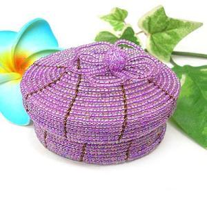 アジアン雑貨 バリ雑貨 20%OFF ビーズの小箱 楕円 大 ピンク系紫|angkasa