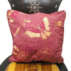 バティックのクッションカバー E [45x45cm] アジアン雑貨 バリ雑貨 タイ エスニック おしゃれなクッション|angkasa