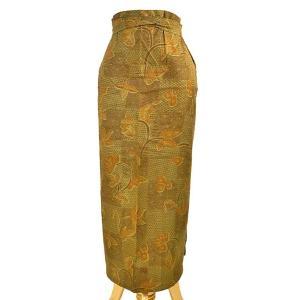 バティック 腰巻エプロン スカート フリーサイズ W ブラウン草花系 レディース メンズ アジアンファッション おしゃれな巻きスカート アジアン雑貨|angkasa