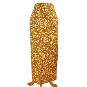 バティック 腰巻エプロン スカート フリーサイズ ZB 薄茶黄草花系 レディース メンズ アジアンファッション おしゃれな巻きスカート アジアン雑貨|angkasa