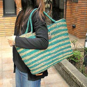 【アウトレット】 パンダンのカゴバッグ パンダンのバッグ Lサイズ 編みカゴ [ターコイズ/ナチュラルのゼブラ]|angkasa
