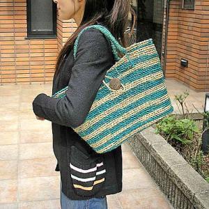【アウトレット】パンダンのカゴバッグ パンダンのバッグ Mサイズ 編みカゴ [ターコイズ/ナチュラルのゼブラ]|angkasa