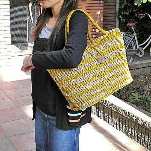 【アウトレット】 パンダンのカゴバッグ Lサイズ 編みカゴ [黄色/ナチュラルのゼブラ]|angkasa