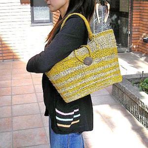 【アウトレット】 パンダンのカゴバッグ Mサイズ 編みカゴ [黄色/ナチュラルのゼブラ]|angkasa