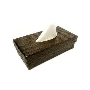 ティッシュケース パンダン編み ダークブラウン アジアン雑貨 バリ雑貨 エスニック おしゃれなティッシュケース|angkasa
