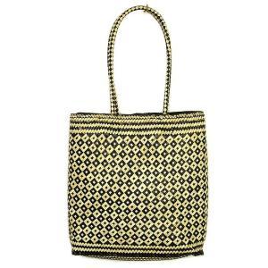 ロンタール椰子のカゴバッグ トートバッグカリマンタン編み角型ブラウン編込み紐 アジアン雑貨 バリ雑貨 タイ雑貨 エスニック|angkasa