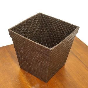 パンダン編みのゴミ箱 角型 収納ボックス ダークブラウン [H.26cm] ロンタール椰子 アジアン雑貨 バリ雑貨|angkasa