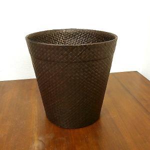 パンダン編みのゴミ箱 円筒型 収納ボックス ダークブラウン[H.26cm] ロンタール椰子 アジアン雑貨 バリ雑貨|angkasa