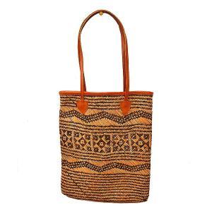 ラタンのカゴバッグ トートバッグカリマンタン編み 角型 ベージュ革紐  アジアン雑貨 バリ雑貨 タイ雑貨 エスニック|angkasa