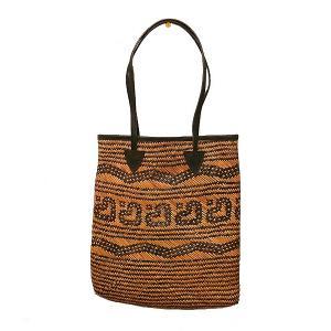 ラタンのカゴバッグ トートバッグカリマンタン編み 角型 こげ茶 革紐  アジアン雑貨 バリ雑貨 タイ雑貨 エスニック|angkasa