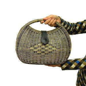 ラタン カゴバッグ 丸型 Lサイズ 手提げ ナチュラル&ブラックMIX アジアン 雑貨 バリ 雑貨 タイ 雑貨 アジアン おしゃれな かごバッグ バスケット|angkasa