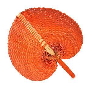 アジアン 団扇 ロンタール椰子 パンダン バンブー うちわ オレンジ エスニック バリ タイ 雑貨 インテリア 舞踏 踊り|angkasa