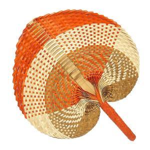 アジアン 団扇 ロンタール椰子 パンダン バンブー うちわ ブラウン オレンジ アイボリー エスニック バリ タイ 雑貨 インテリア 舞踏 踊り|angkasa