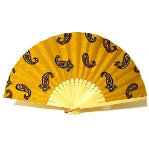バティックの扇子 LLサイズ 黄色系 [最大幅約60cm] 変わった扇子 おしゃれなせんす 団扇 エスニックな アジアン雑貨 バリ雑貨 タイ雑貨 エスニック雑貨|angkasa