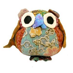 オールドバティック フクロウのぬいぐるみ ふくろうインテリア 梟 置物 A アジアン雑貨 バリ雑貨 バティック布 エスニック angkasa