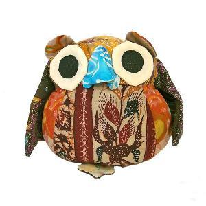 オールドバティック フクロウのぬいぐるみ ふくろうインテリア 梟 置物 E アジアン雑貨 バリ雑貨 バティック布 エスニック angkasa