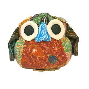 オールドバティック フクロウのぬいぐるみ ふくろうインテリア 梟 置物 F アジアン雑貨 バリ雑貨 バティック布 エスニック angkasa
