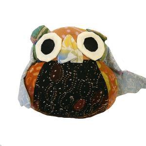 オールドバティック フクロウのぬいぐるみ ふくろうインテリア 梟 置物 G アジアン雑貨 バリ雑貨 バティック布 エスニック angkasa