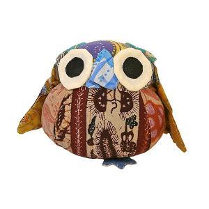 オールドバティック フクロウのぬいぐるみ ふくろうインテリア 梟 置物 H アジアン雑貨 バリ雑貨 バティック布 エスニック angkasa