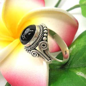 アジアン雑貨 エスニック シルバー アクセサリー リング 指輪 【20号】 オニキス|angkasa