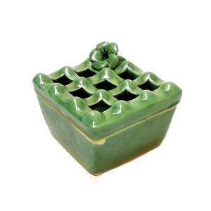 タバナン 灰皿蓋付き フランジパニ グリーン アジアン雑貨 バリ雑貨|angkasa