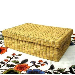 ウオーターヒヤシンスの蓋付きサロンケース[30x23x9cm] アジアン雑貨 タイ雑貨 おしゃれな 収納 angkasa