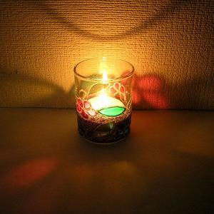 キャンドル ホルダー カップ グラス 花柄 パープル [器直径5cmxH6cm] アジアン バリ雑貨 タイ アロマテラピー|angkasa