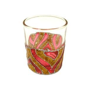 キャンドル ホルダー カップ グラス ゴールド&レッド [器直径5cmxH6cm] アジアン雑貨 バリ雑貨 タイ おしゃれな キャンドルグラス クリスマスアジアン|angkasa
