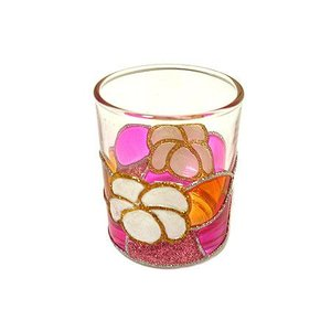 キャンドル ホルダー カップ グラス 白プルメリア ピンク系 [器直径5cmxH6cm] アジアン雑貨 バリ雑貨 タイ おしゃれな キャンドルグラス クリスマス|angkasa