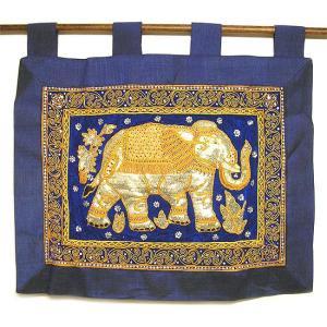 象さんの暖簾 壁掛け のれん スパンコールとビーズ刺繍  [横約70x縦68cm] アジアン雑貨 バリ雑貨 タイ エスニック おしゃれな かわいい 暖簾 |angkasa
