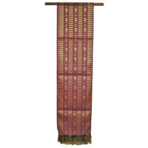 テーブルランナー 象さん 金糸刺繍 赤紫 スレンダー[200x24cm] アジアン雑貨 バリ雑貨 タイ モダン おしゃれなタペストリー angkasa