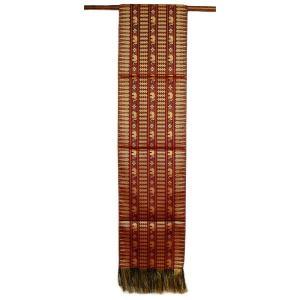 テーブルランナー 象さん 金糸刺繍 赤茶(赤) スレンダー[200x24cm] アジアン雑貨 バリ雑貨 タイ モダン おしゃれなタペストリー angkasa