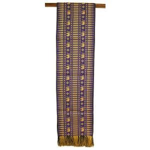 テーブルランナー 象さん 金糸刺繍 青系紫 スレンダー[200x24cm] アジアン雑貨 バリ雑貨 タイ モダン おしゃれなタペストリー angkasa