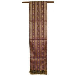 テーブルランナー 象さん 金糸刺繍 紫 スレンダー[200x24cm] ベッドライナー アジアン雑貨 バリ雑貨 タイ モダン おしゃれなタペストリー angkasa