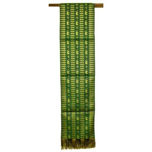 テーブルランナー 象さん 金糸刺繍 緑 スレンダー[200x24cm] ベッドライナー アジアン雑貨 バリ雑貨 タイ モダン おしゃれなタペストリー angkasa