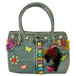 デニムのハンドバッグ ショルダーバッグ B 布製  アジアン雑貨 バリ雑貨 タイ雑貨 エスニック angkasa