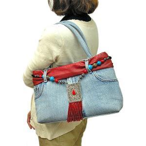 デニムのハンドバッグ ショルダーバッグ B-B 布製  アジアン雑貨 バリ雑貨 タイ雑貨 エスニック angkasa