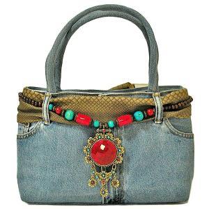 デニムのハンドバッグ ショルダーバッグ B-D 布製  アジアン雑貨 バリ雑貨 タイ雑貨 エスニック angkasa
